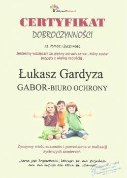 certyfikat dobroczynności, Gabor, Łukasz Gardyza